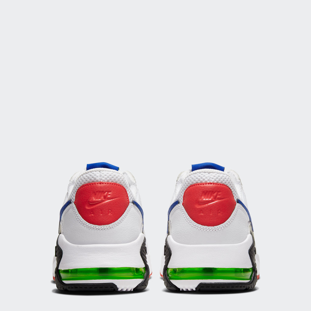 Men's Nike Air Max Excee Shoes White/Bright Cactus/Track Red/Hyper Blue (SKU CD4165-101) | Chicago City Sports | rear view
