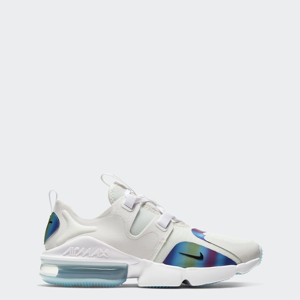Men's Nike Air Max Infinity Summit White/Platinum Tint/Electric Green/Black (SKU BQ3999-101) | Chicago City Sports | side view