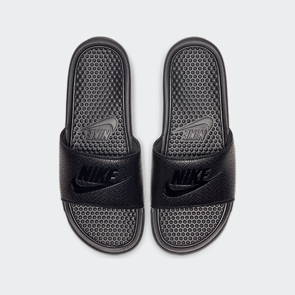 Men's Nike Benassi JDI Slides Triple Black (SKU 343880-001) | Chicago City Sports | top view