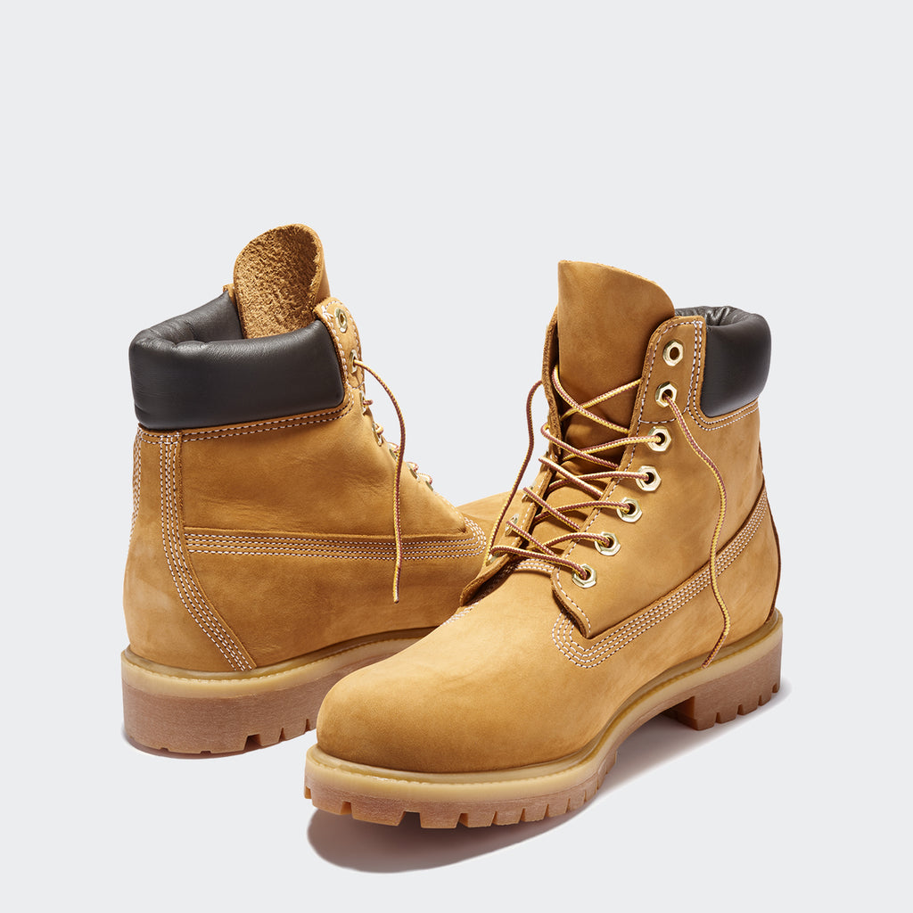 Men's Timberland Icon 6-Inch Premium Waterproof Boots Wheat Nubuck (TB010061713) | Chicago City Sports | front and rear view