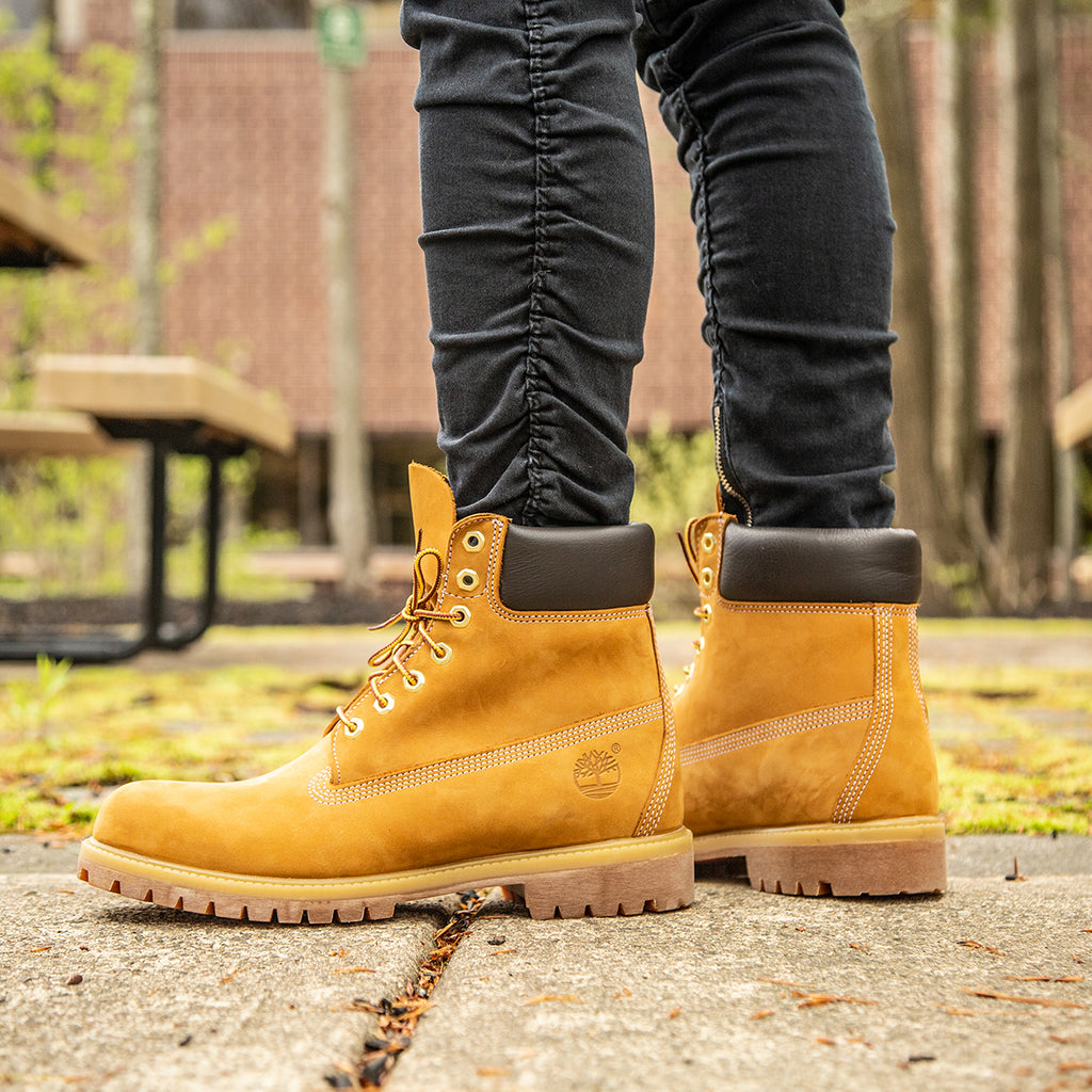 Men's Timberland Icon 6-Inch Premium Waterproof Boots Wheat Nubuck (TB010061713) | Chicago City Sports | on model view