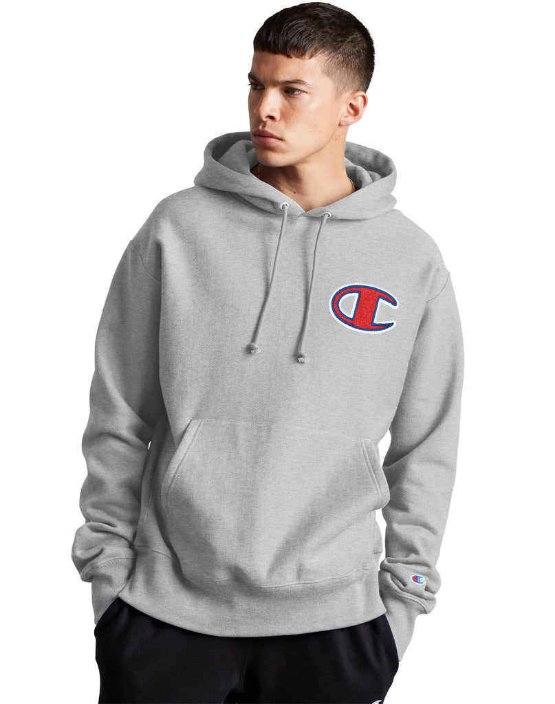 Men's Champion Life Reverse Weave Pullover Hoodie-Big C Oxford Grey