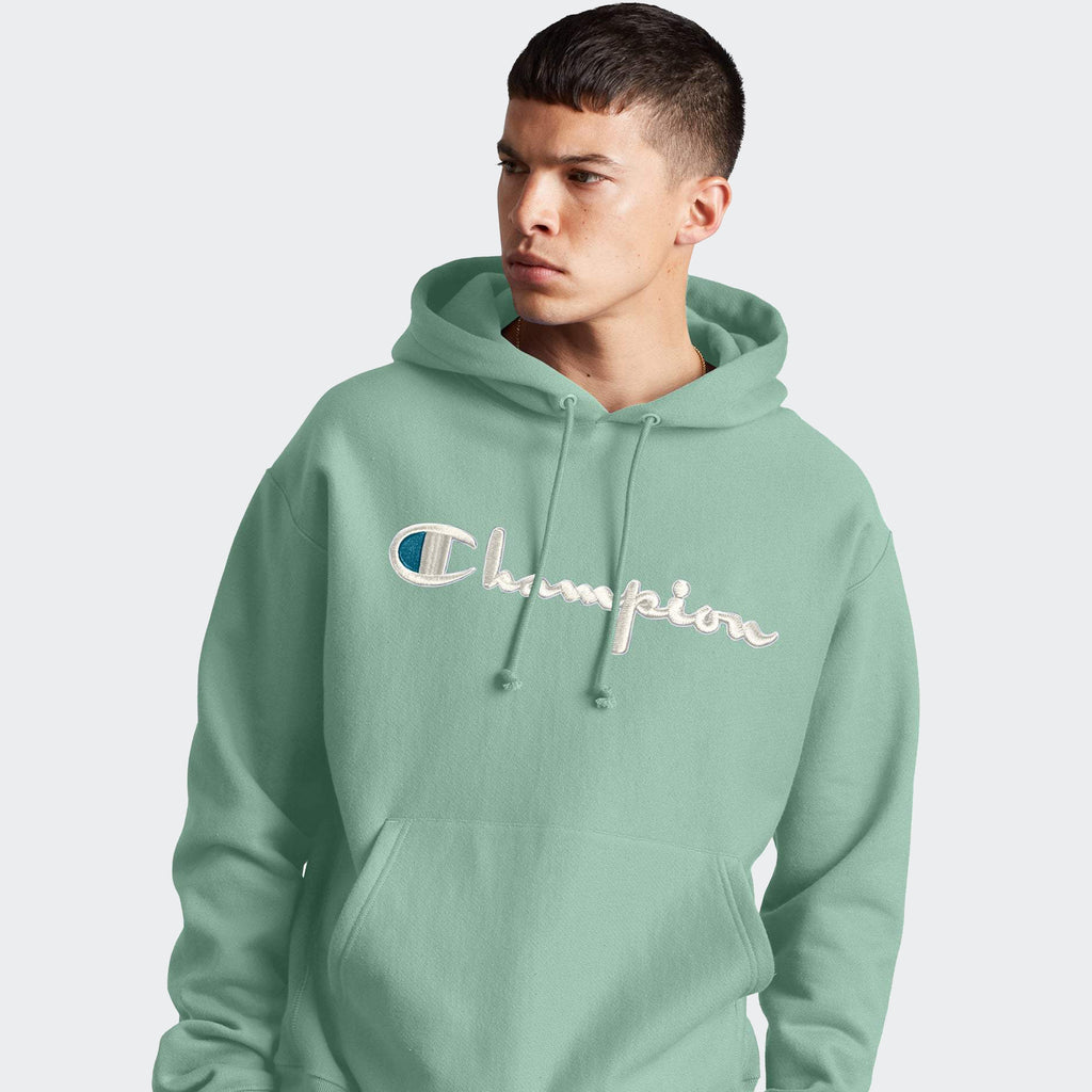 Men's Champion RW Hoodie 3D Floss Stitch Logo Thermal Green