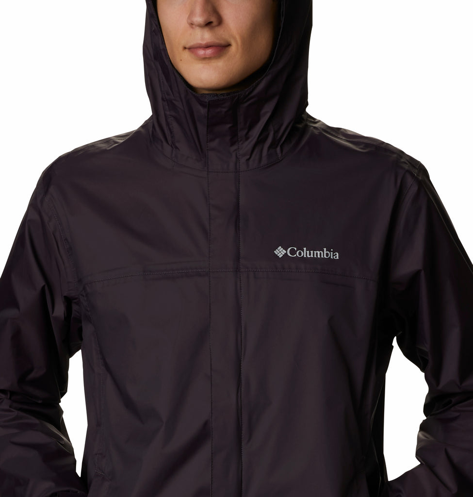 Men's Columbia Watertight II Jacket Dark Purple 1533891511 | Chicago City Sports | close-up front view on model