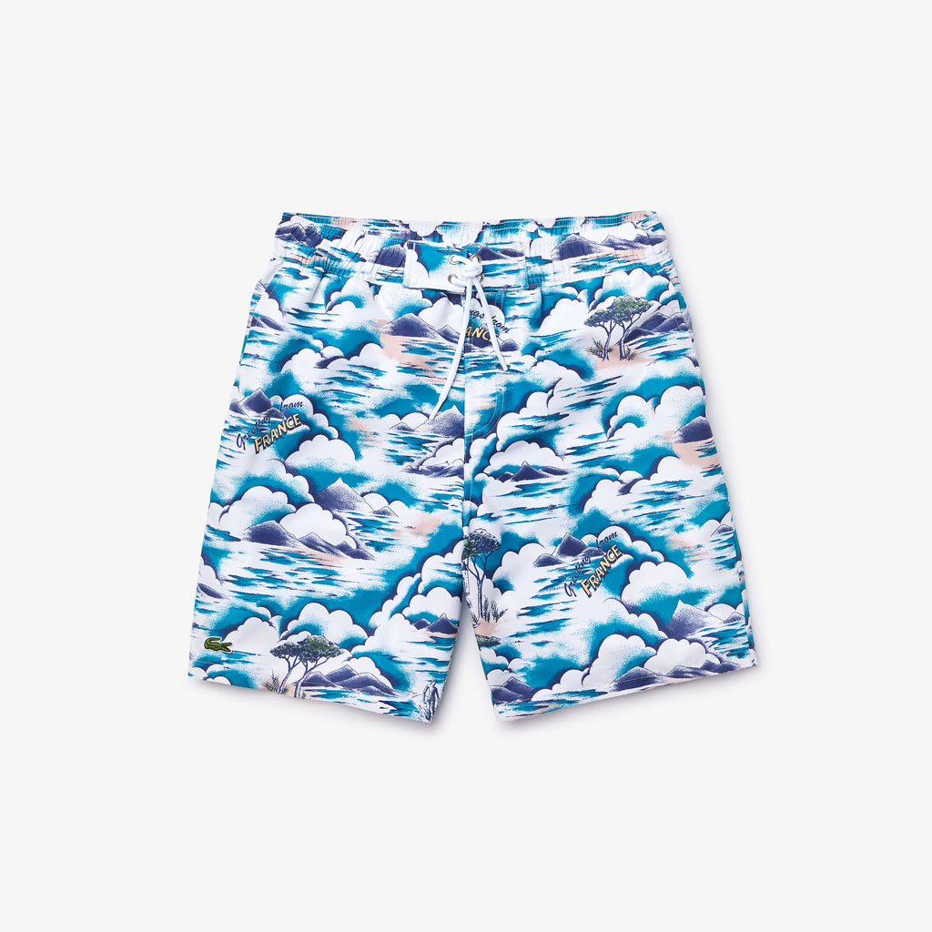 Men's Lacoste Print Swim Shorts Blue MH6263RUF | Chicago City Sports | front view