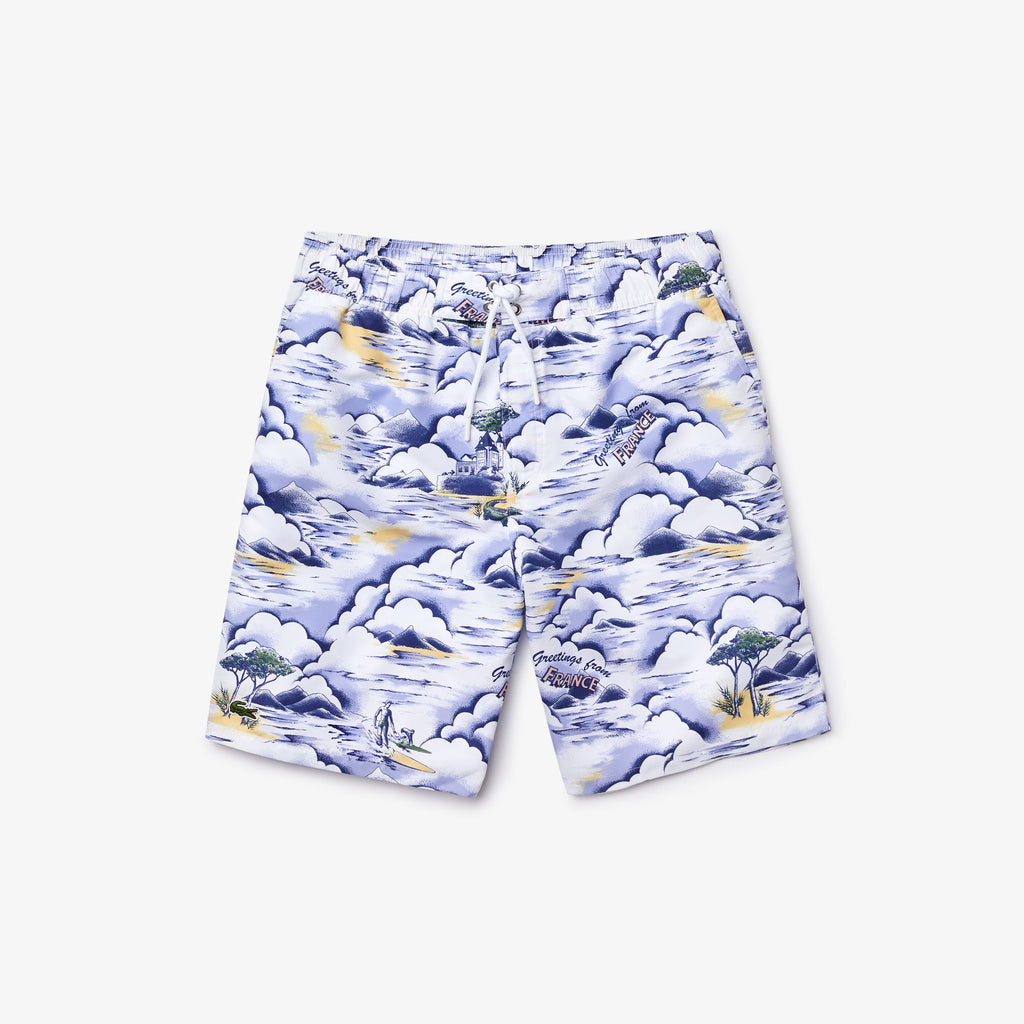 Men's Lacoste Print Swim Shorts Purple MH6263RWS | Chicago City Sports | front view