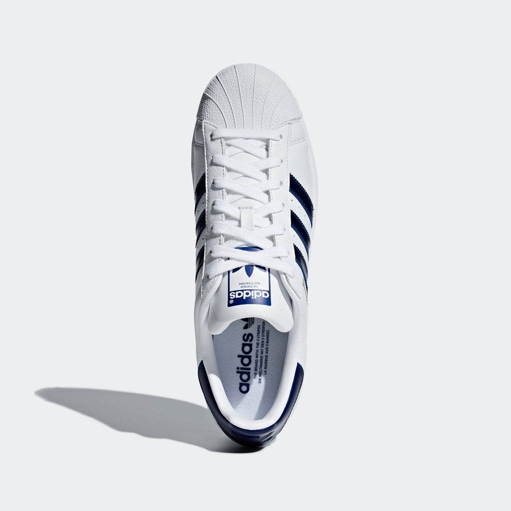 Men's adidas Originals Superstars Shoes Cloud White Collegiate Navy