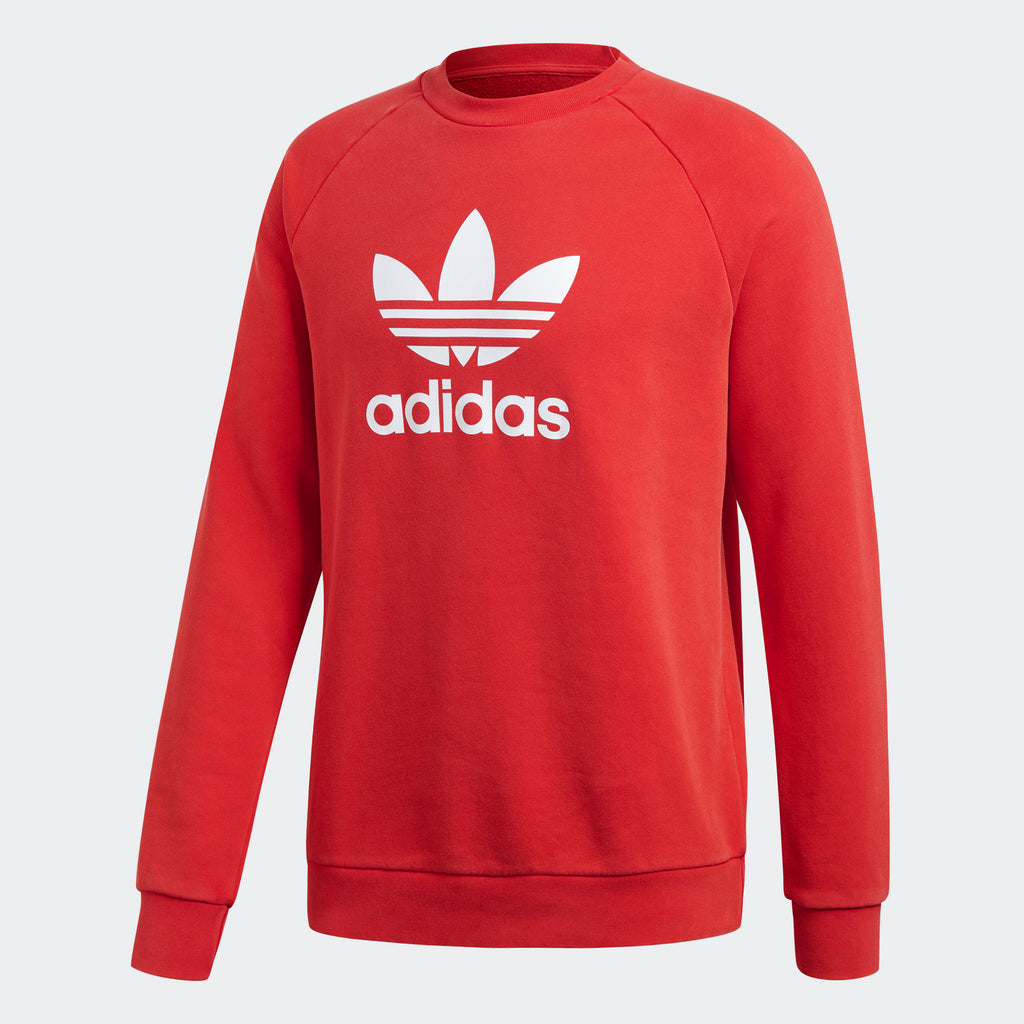 Men's adidas Originals Trefoil Warm-Up Crew Sweatshirt Collegiate Red