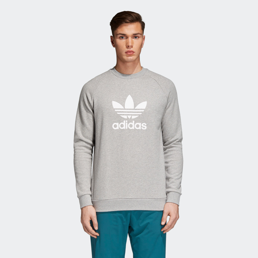 Men's adidas Originals Trefoil Warm-Up Crew Sweatshirt Grey