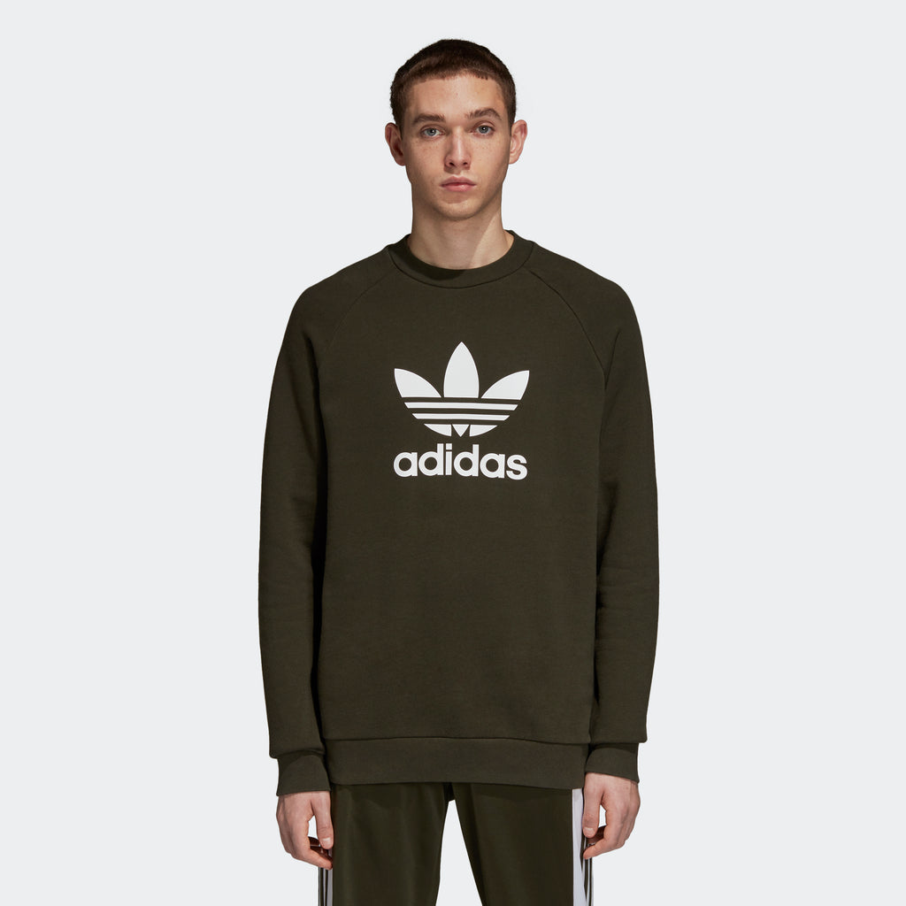 Men's adidas Originals Trefoil Warm-Up Crew Sweatshirt Night Cargo