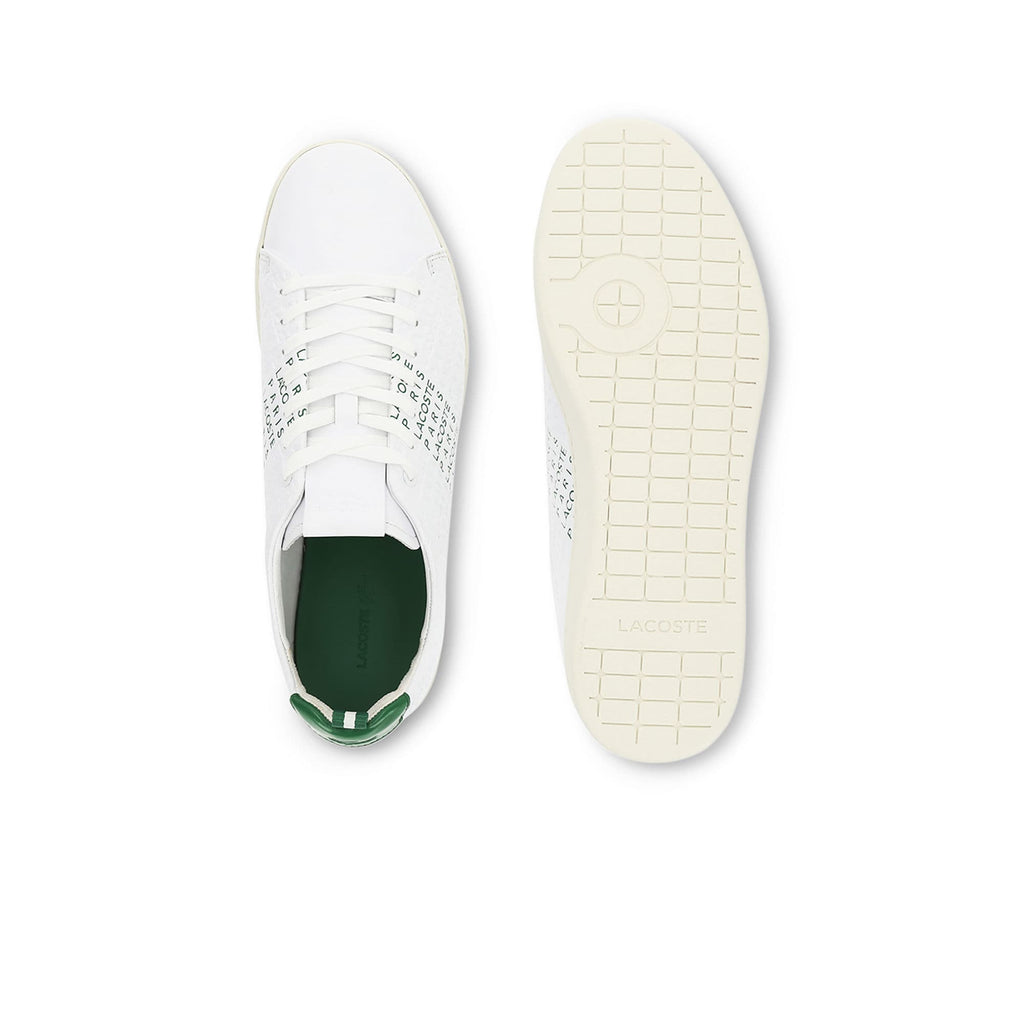 Men's Lacoste Carnaby Evo Embossed Leather Trainers (737SMA0014082) | Chicago City Sports | top and bottom views