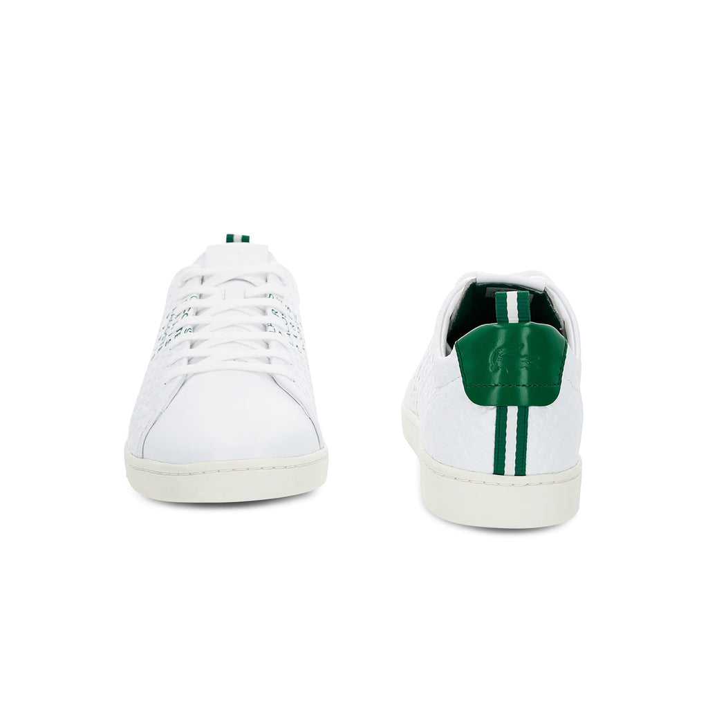 Men's Lacoste Carnaby Evo Embossed Leather Trainers (737SMA0014082) | Chicago City Sports | ftont and rear views
