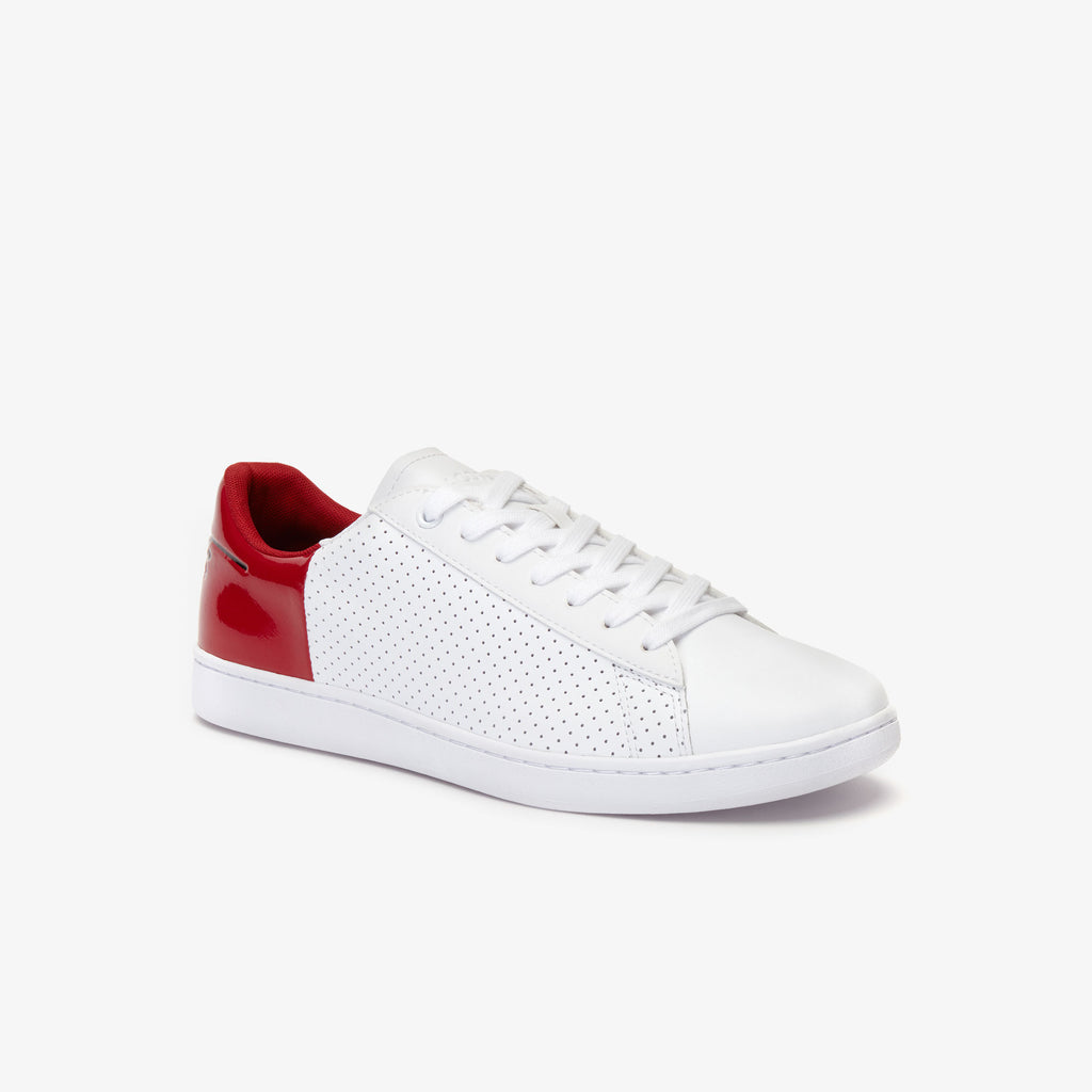 Men's Lacoste Carnaby Sneakers White Red (738SMA0063-286) | Chicago City Sports | diagonal view