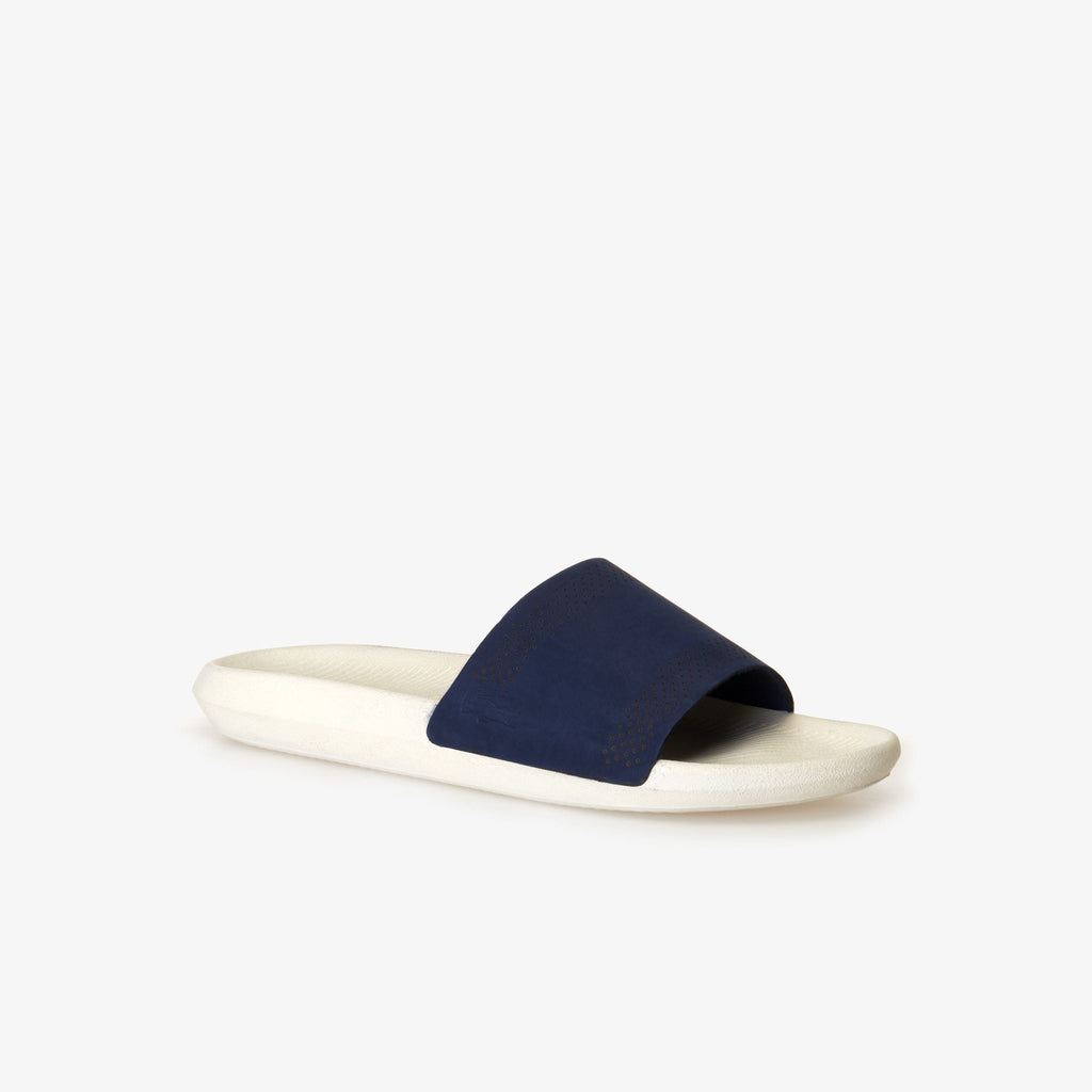 Men's Lacoste Croco Leather Slides Navy (737CMA0021J18) | Chicago City Sports | side view