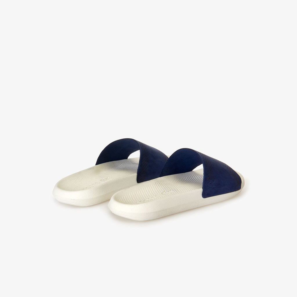 Men's Lacoste Croco Leather Slides Navy (737CMA0021J18) | Chicago City Sports | rear view