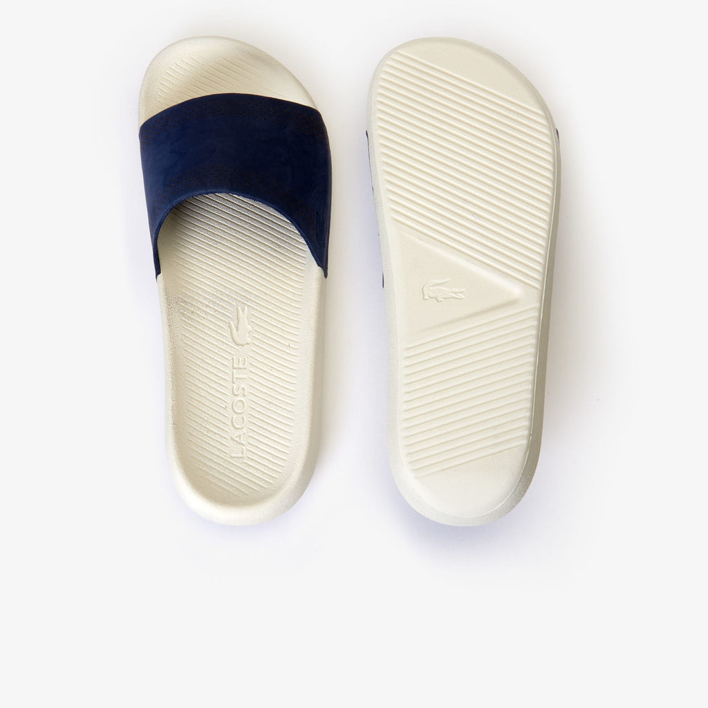Men's Lacoste Croco Leather Slides Navy (737CMA0021J18) | Chicago City Sports | top and bottom view