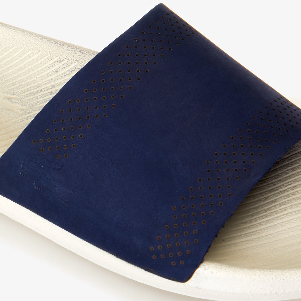 Men's Lacoste Croco Leather Slides Navy (737CMA0021J18) | Chicago City Sports | detailed top view