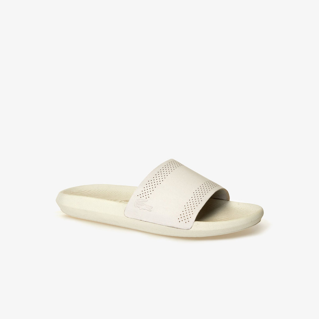 Men's Lacoste Croco Leather Slides Off White