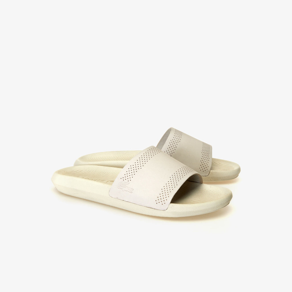 Men's Lacoste Croco Leather Slides Off White (737CMA002118C) | Chicago City Sports | side view