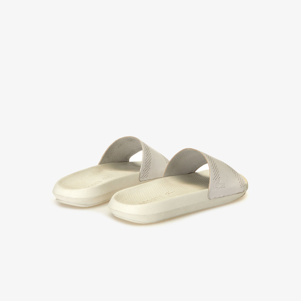 Men's Lacoste Croco Leather Slides Off White (737CMA002118C) | Chicago City Sports | rear view