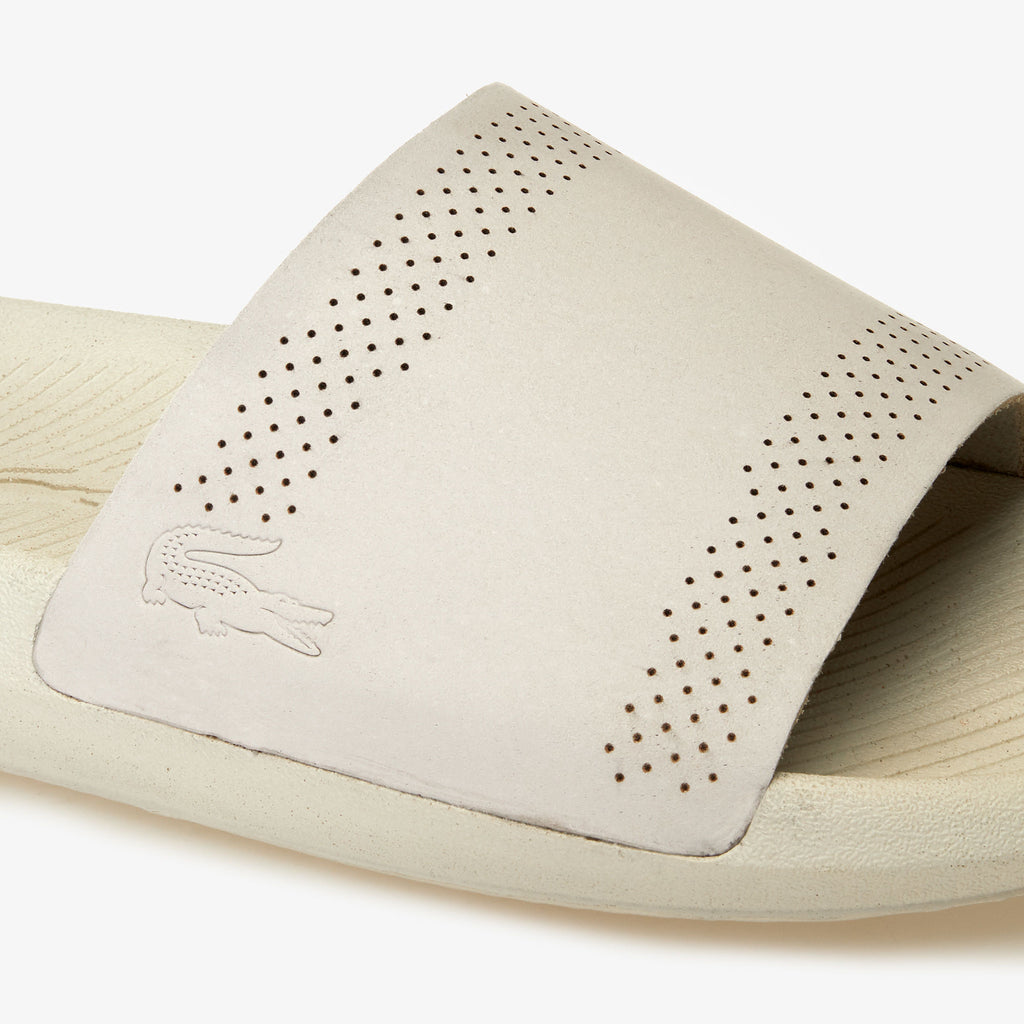 Men's Lacoste Croco Leather Slides Off White (737CMA002118C) | Chicago City Sports | detailed top view