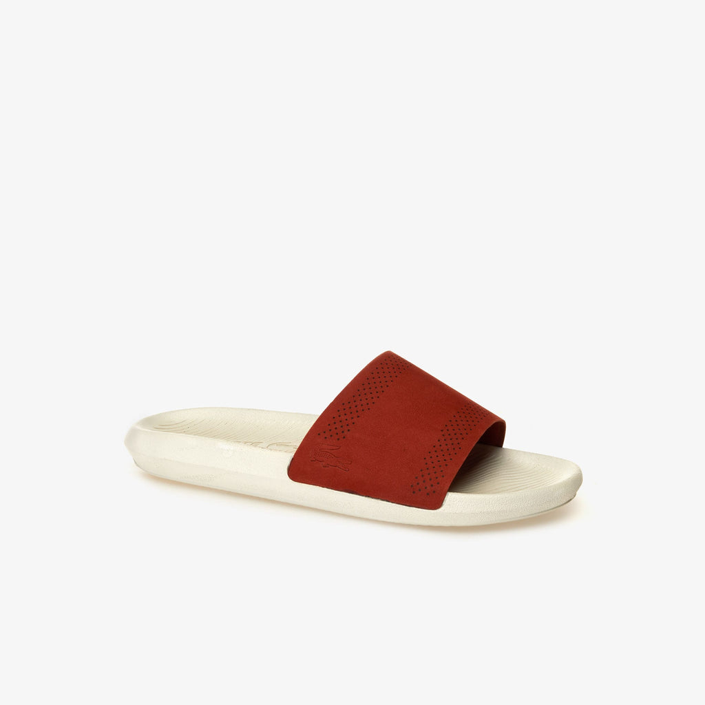 Men's Lacoste Croco Leather Slides Red (737CMA0021262) | Chicago City Sports | side view