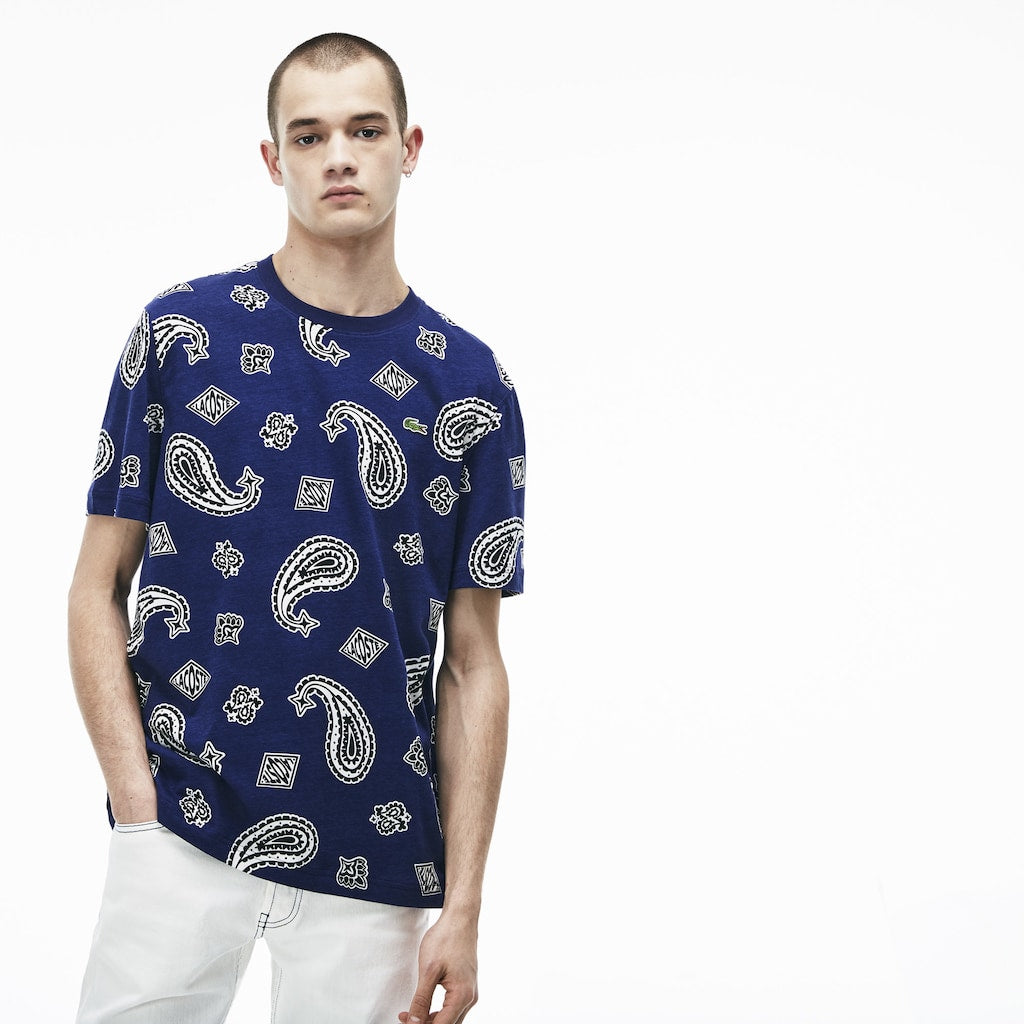 Men's Lacoste LIVE Paisley Tee Navy Blue (TH3845HA7) | Chicago City Sports | front view on model