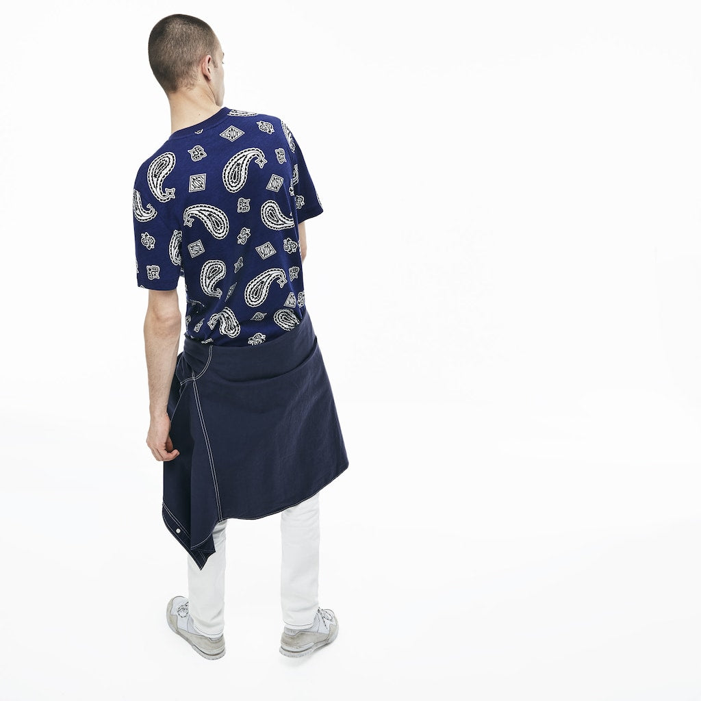 Men's Lacoste LIVE Paisley Tee Navy Blue (TH3845HA7) | Chicago City Sports | rear view on model