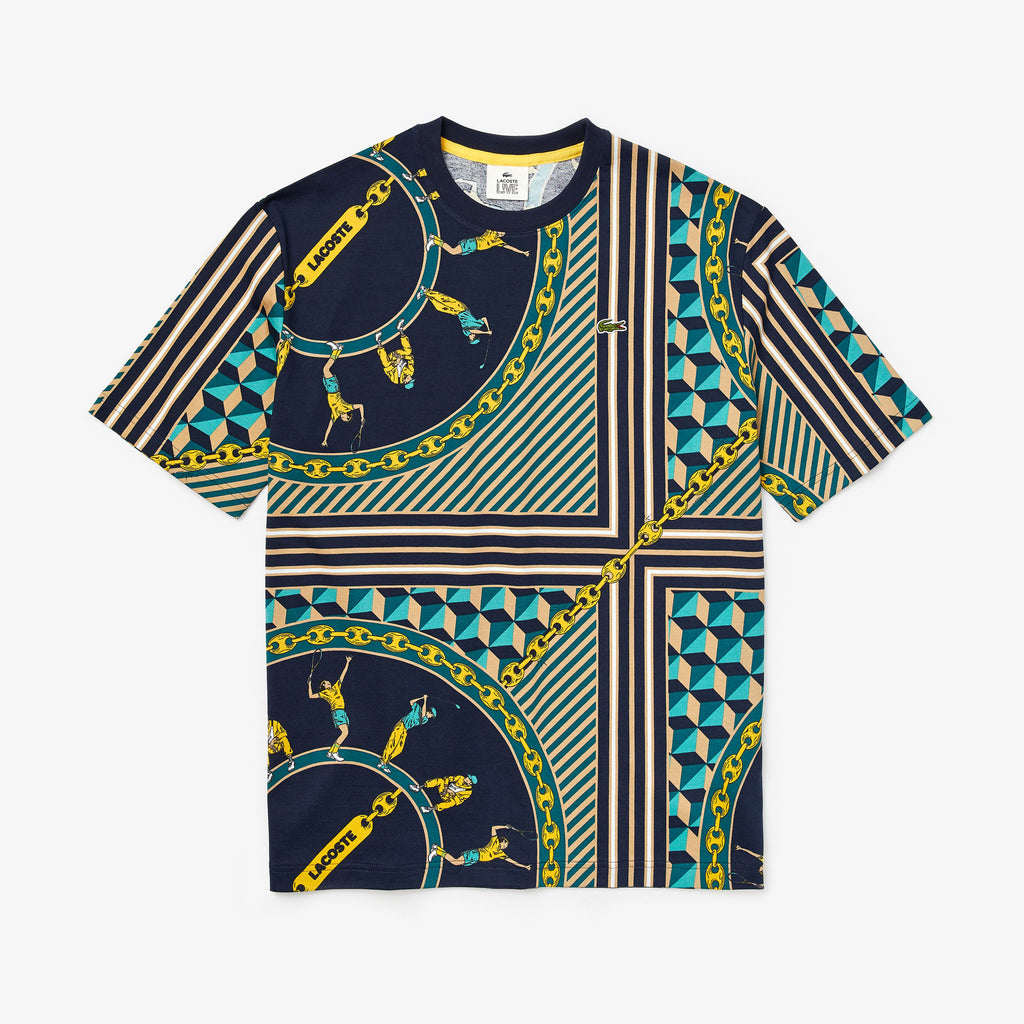 Men's Lacoste LIVE Scarf-Print Cotton T-Shirt (TH4370QRN) Multicolored | Chicago City Sports | front view