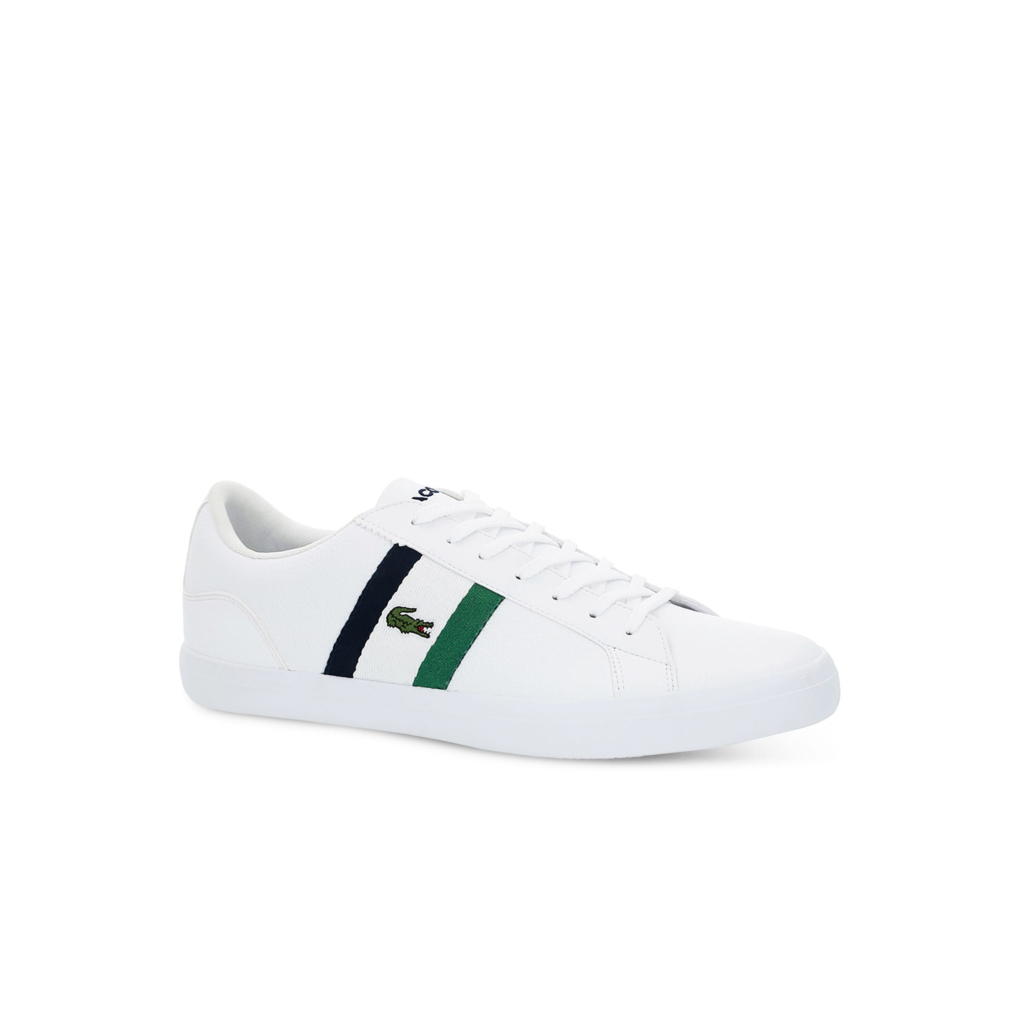 482cadb6d Men s Lacoste Lerond Tumbled Leather Trainers White Green