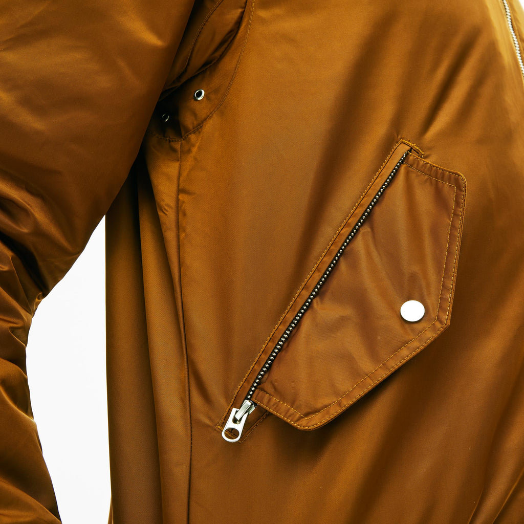 Men's Lacoste Sherpa Collar Padded Bomber Jacket Brown (BH84053MS) | Chicago City Sports | detailed pocket view