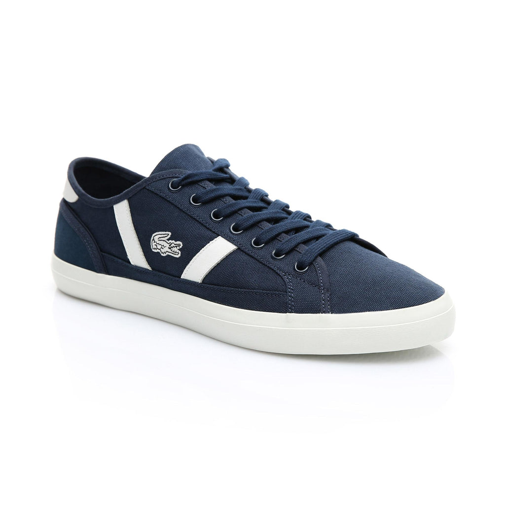 Men's Lacoste Sideline Canvas Shoes Navy (737CMA0066J18) | Chicago City Sports | diagonal view