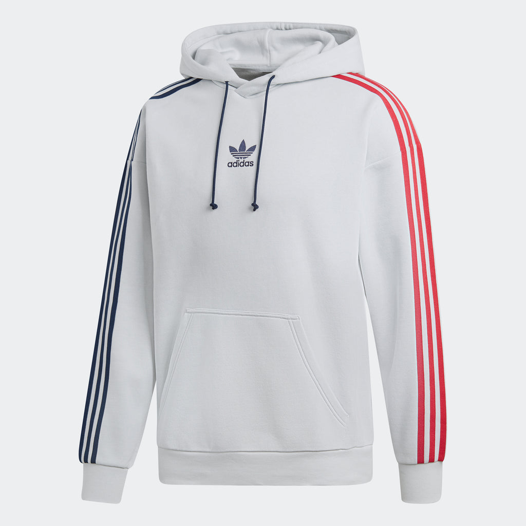 Men's adidas Originals 3-Stripes Hoodie Clear Grey