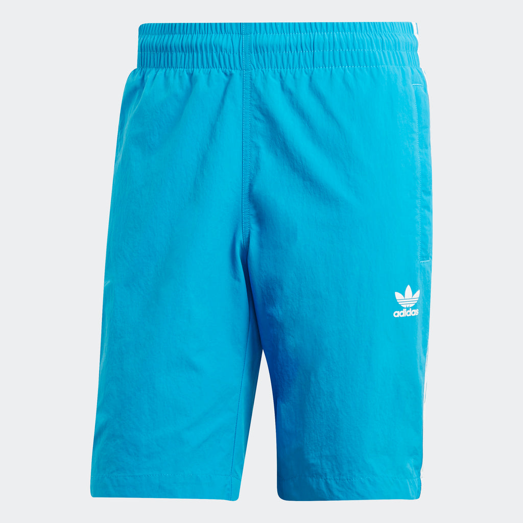 Men's adidas Originals 3-Stripes Swim Shorts Shock Cyan