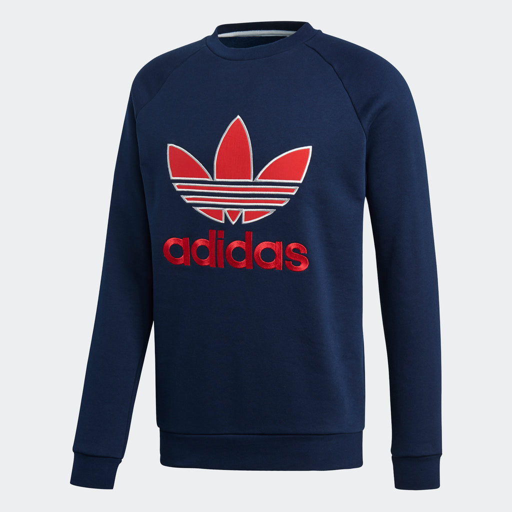 Men's adidas Originals Appliqué Trefoil Crew Collegiate Navy