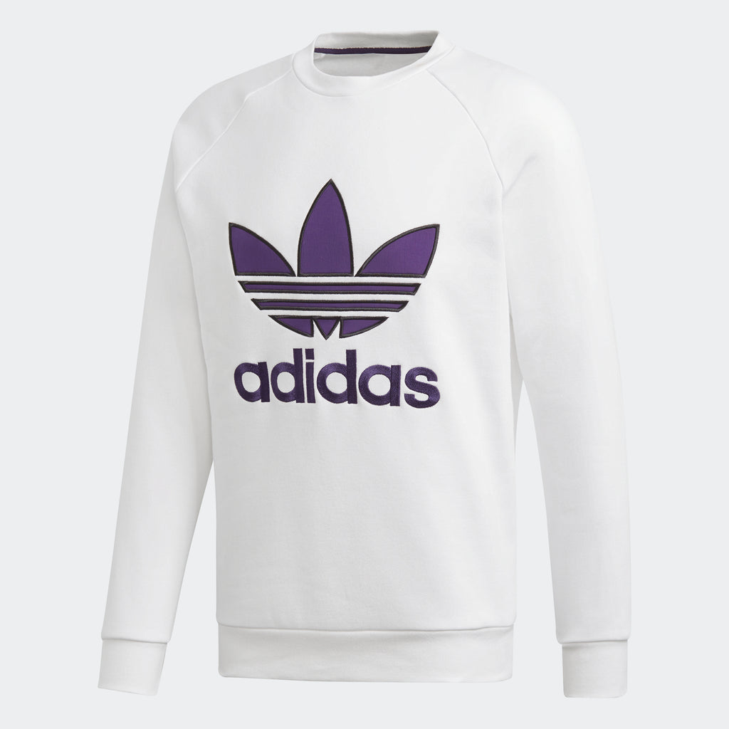 Men's adidas Originals Appliqué Trefoil Crew White