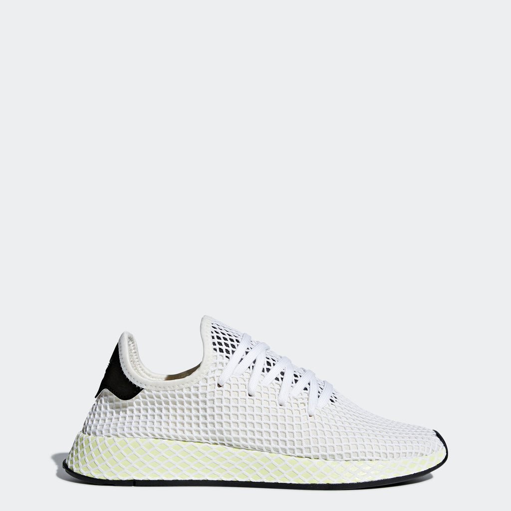 Men's adidas Originals Deerupt Runner Shoes Chalk White and Core Black