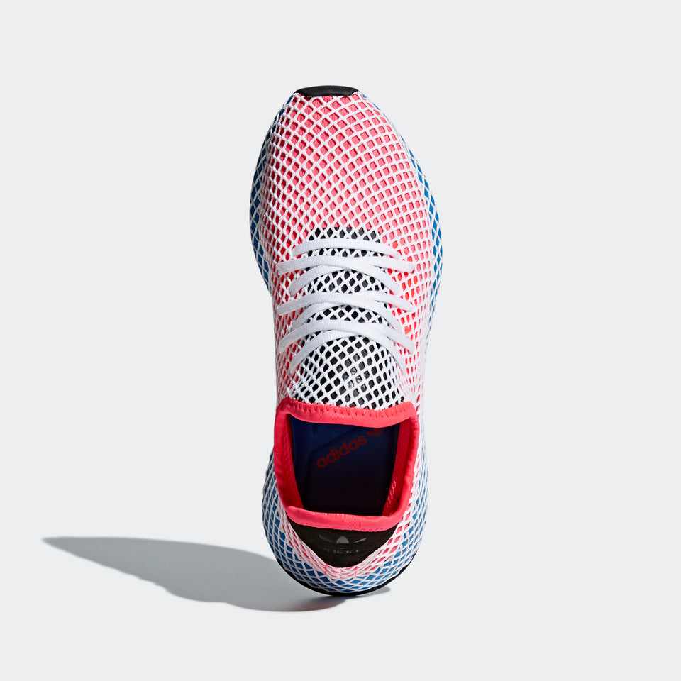 Men's adidas Originals Deerupt Runner Shoes Cloud Solar Red and Bluebird