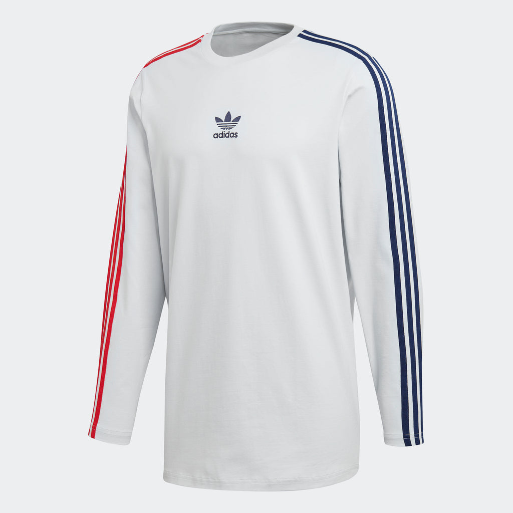 Men's adidas Originals Long Sleeve Stripe Tee Clear Grey