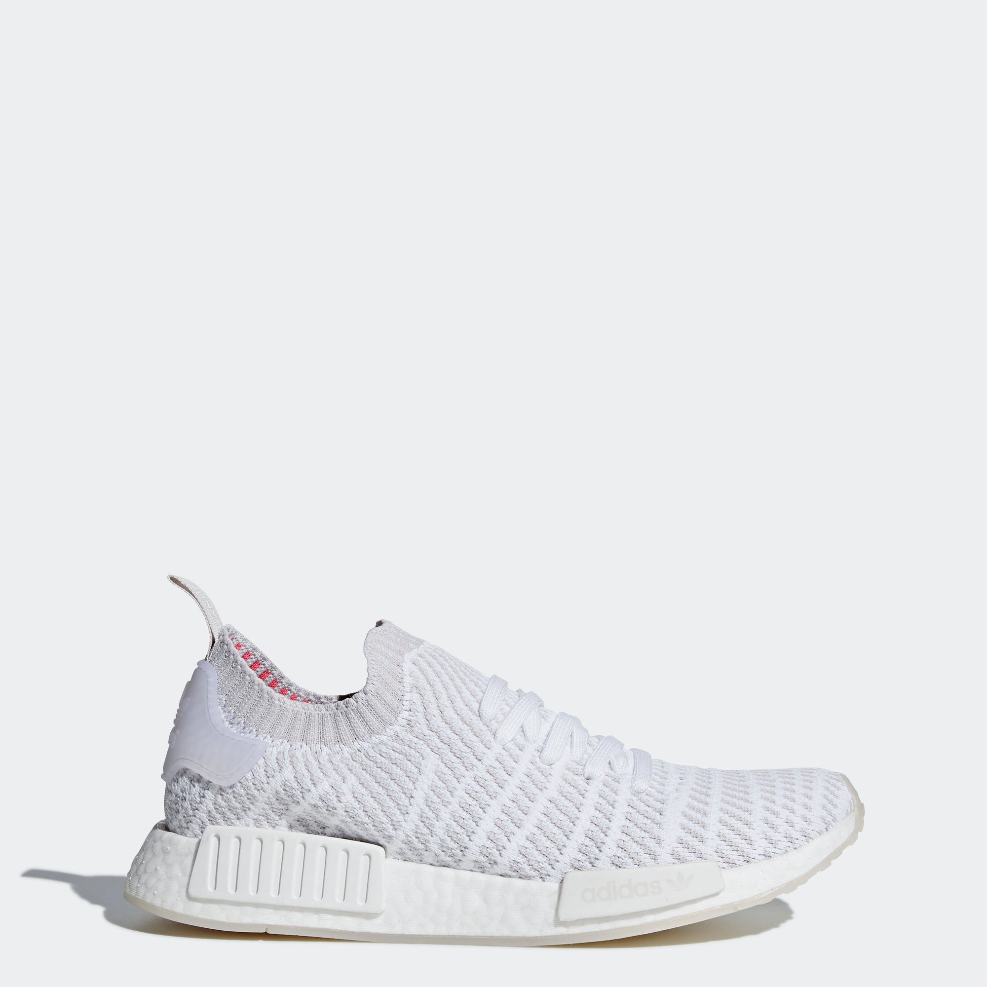 cheap for discount e7f42 f9111 Men s adidas Originals NMD R1 STLT Primeknit Shoes Cloud White and Gray