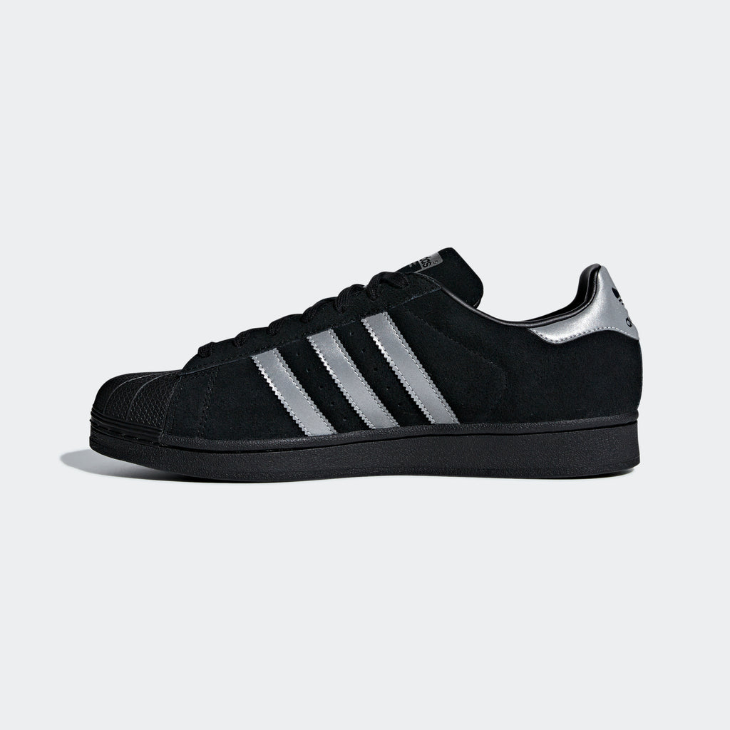 Men's adidas Originals Superstar Shoes Black Suede