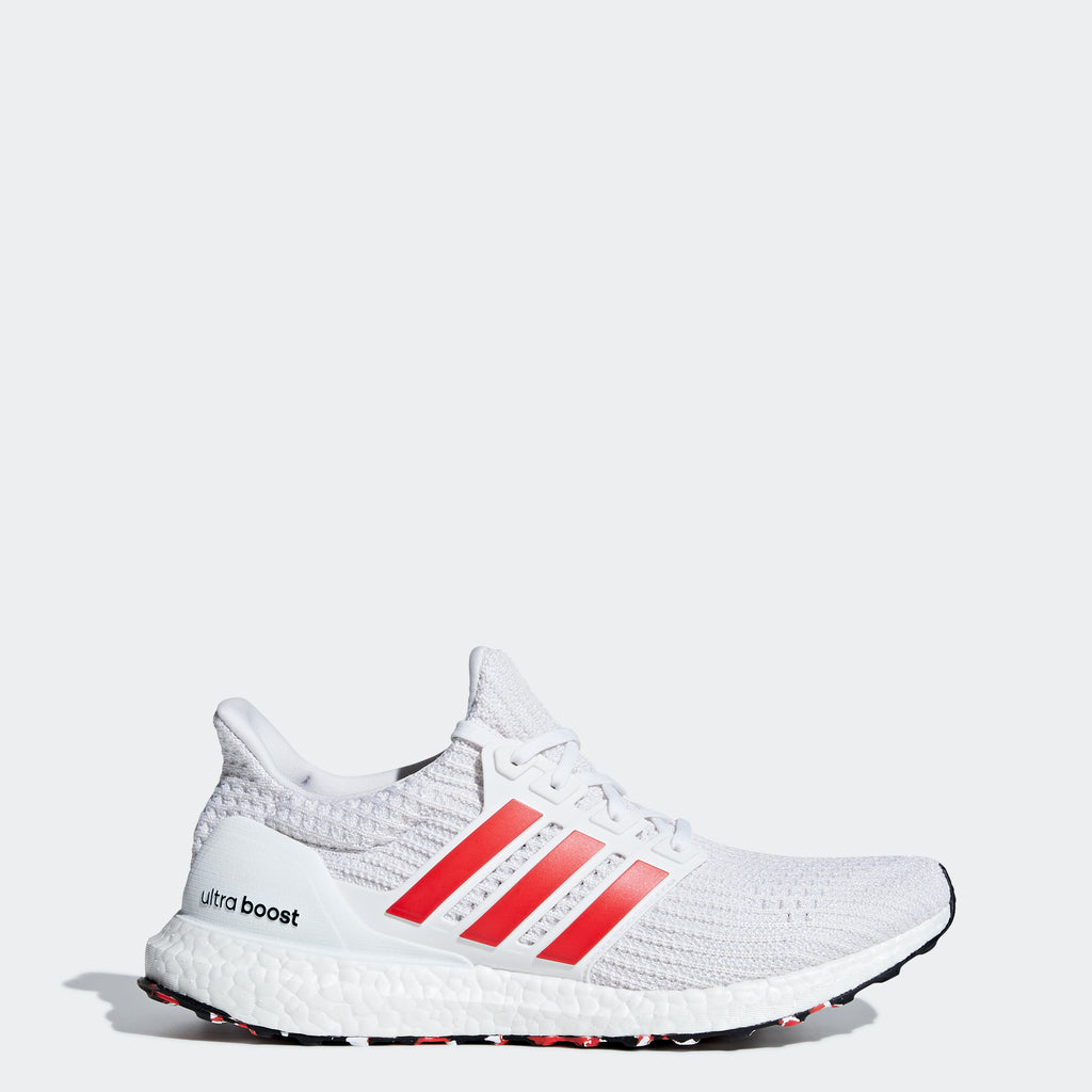 Men's adidas Ultraboost Shoes White Active Red DB3199 | Chicago City Sports | side view
