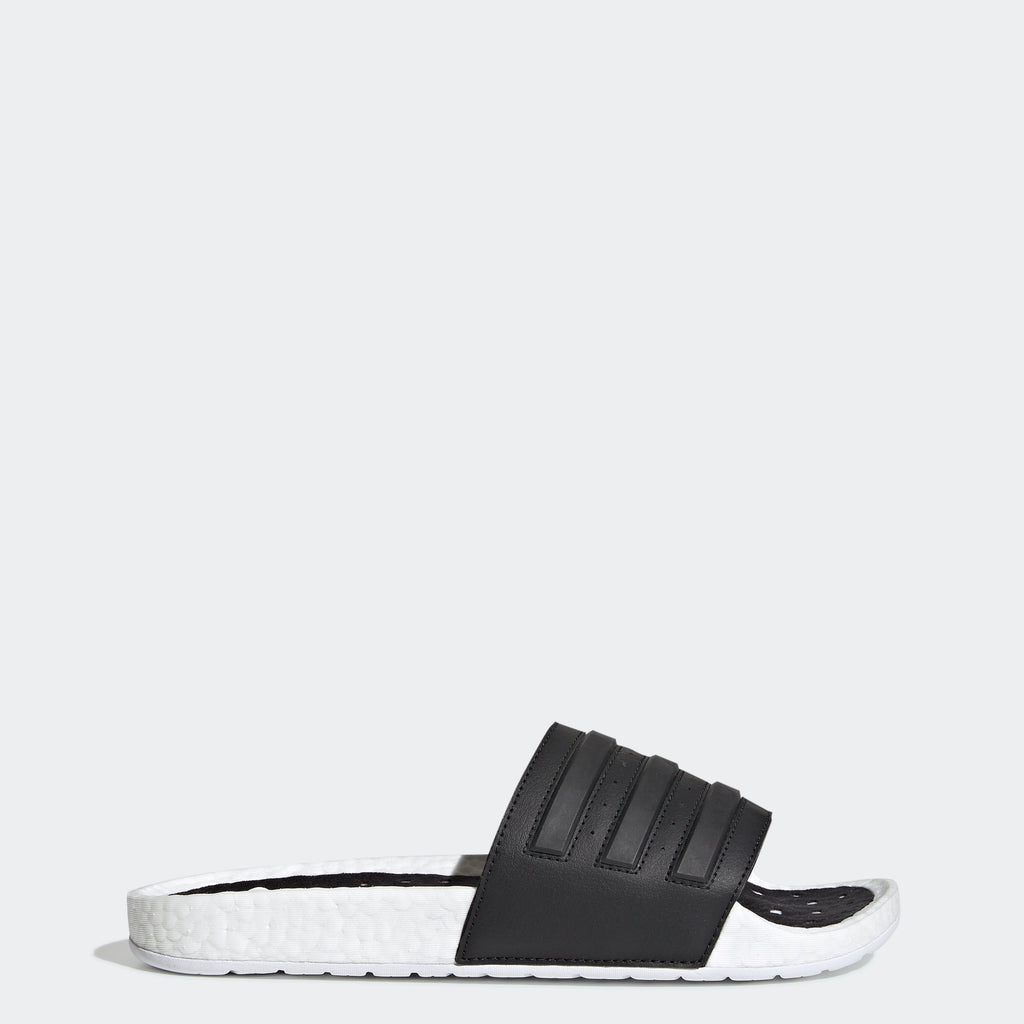 Men's adidas Adilette Boost Slides White Black (SKU EG1910) | Chicago City Sports | side view