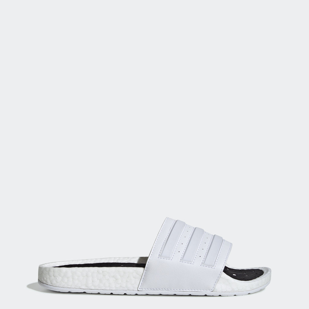 Men's adidas Adilette Boost Slides White EG1909 | Chicago City Sports | side view