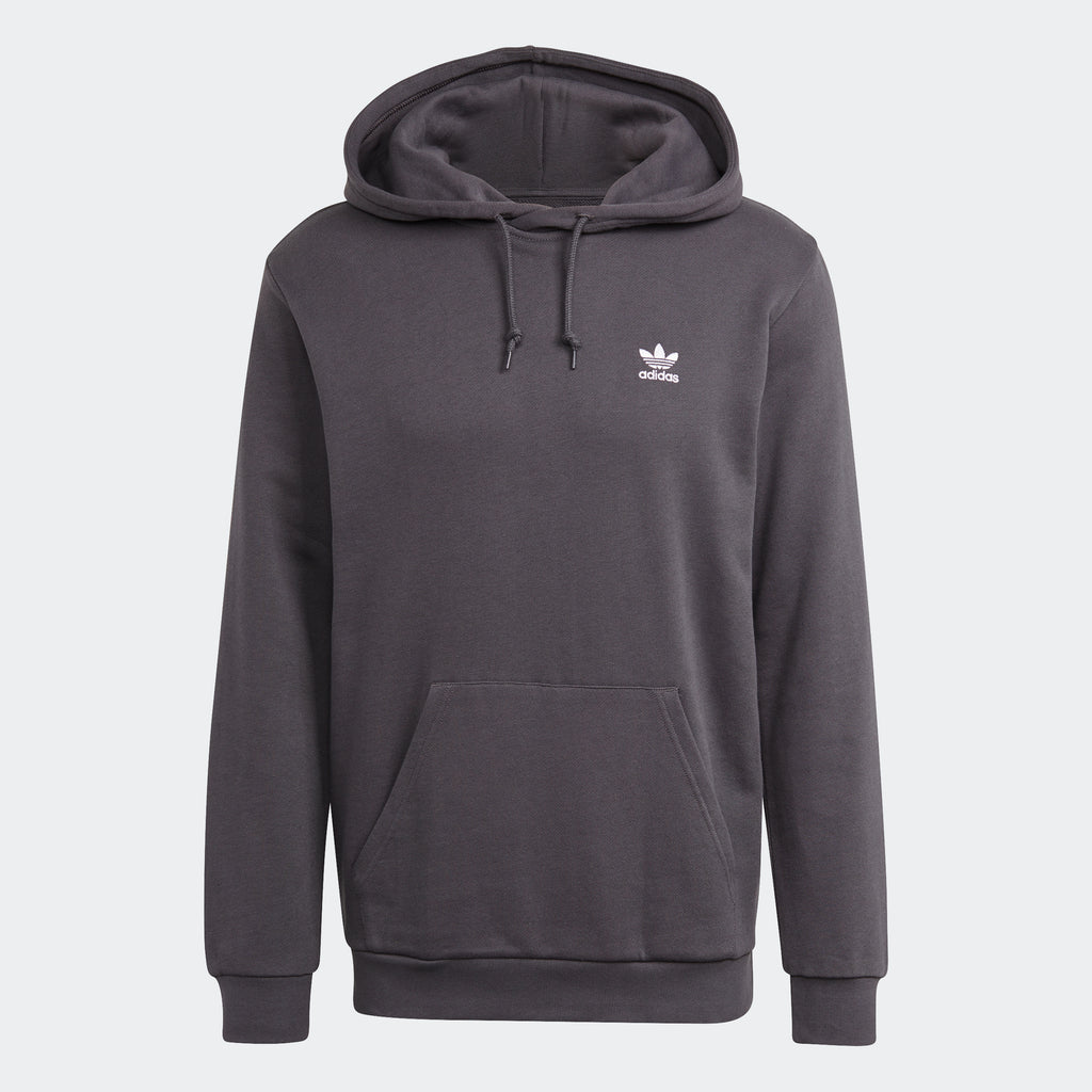 Men's adidas Essentials Trefoil Hoodie Grey Five GN3388 | Chicago City Sports | front view