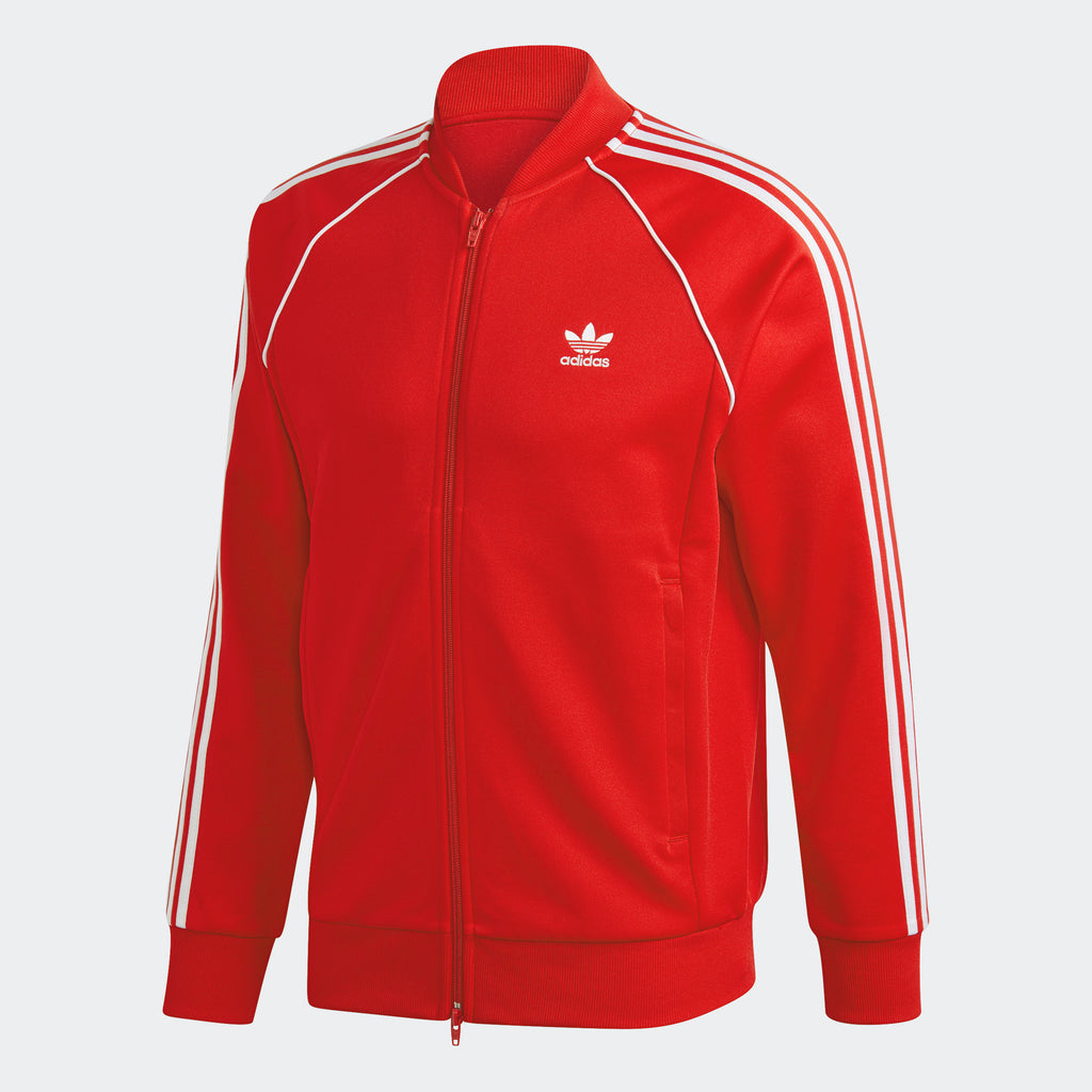 Men's adidas Originals Adicolor Classics Primeblue SST Track Jacket Scarlet GF0196 | Chicago City Sports | front view