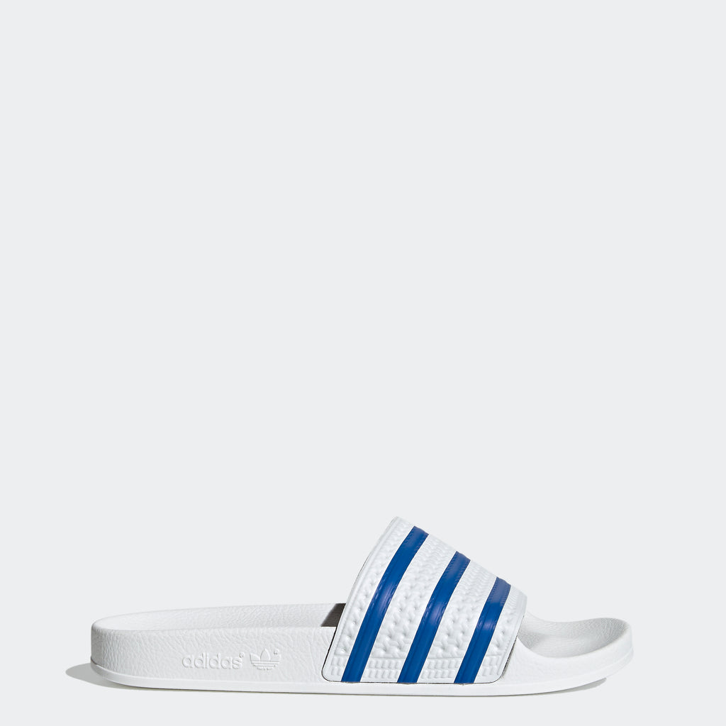 Men's adidas Adilette Slides White Blue FX5860 | Chicago City Sports | side view