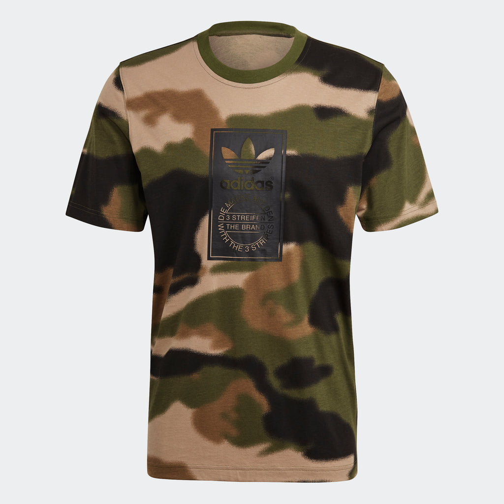 Men's adidas Originals Camo Tongue Label Tee Wild Pine GN1863 | Chicago City Sports | front view