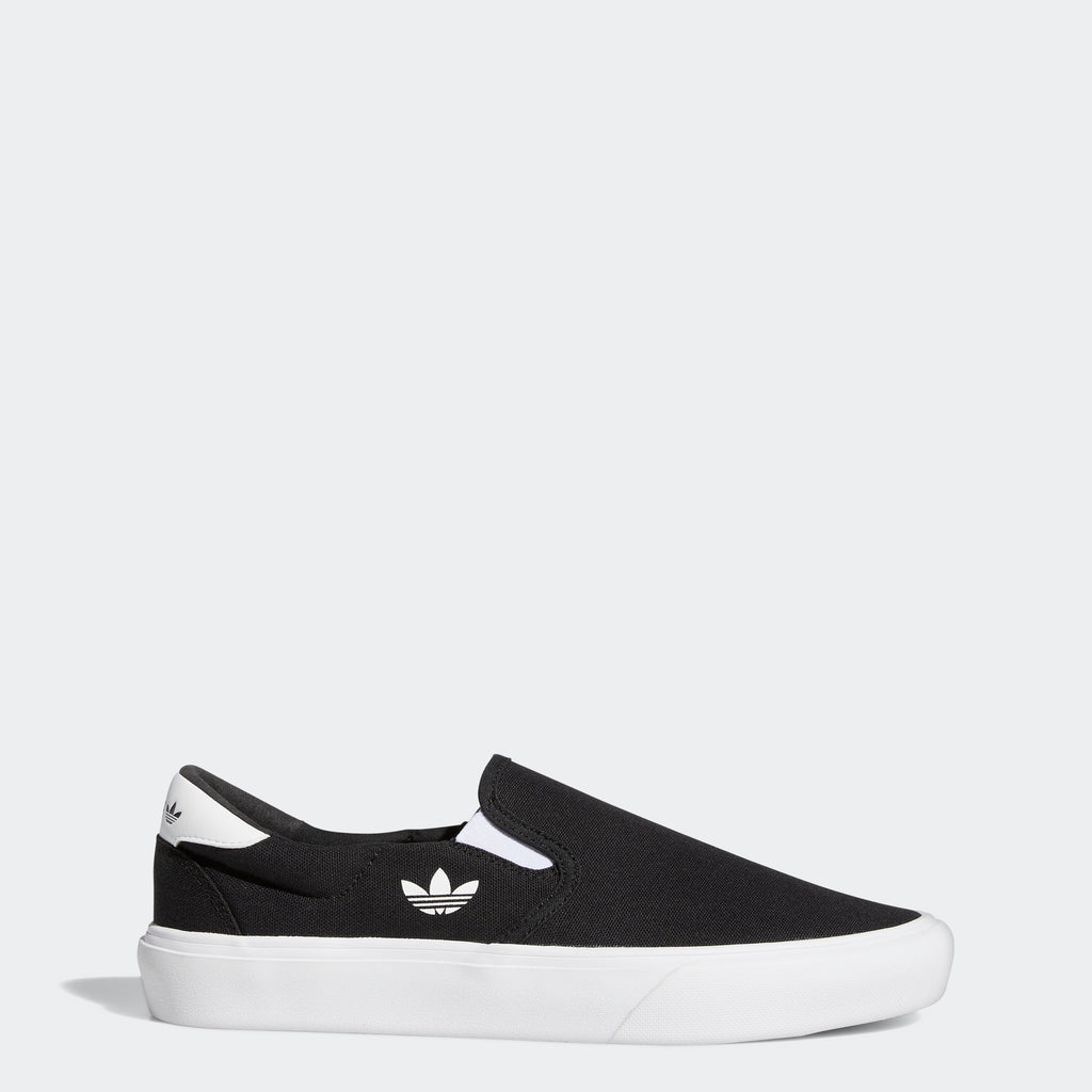 Men's adidas Originals Court Rallye Slip Shoes Black White FY4551 | Chicago City Sports | side view