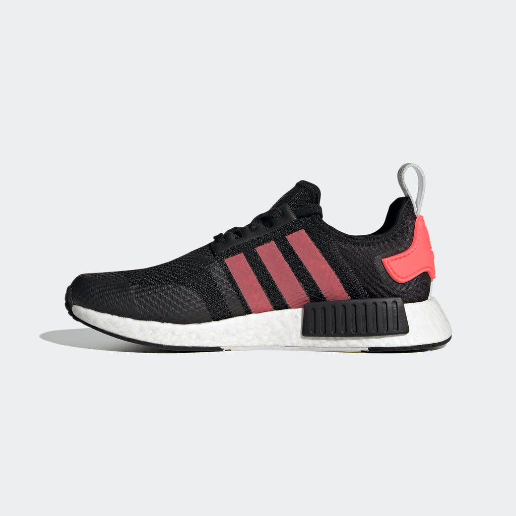 Men's adidas NMD_R1 Shoes Black Signal Pink FV9153 | Chicago City Sports | interior side view